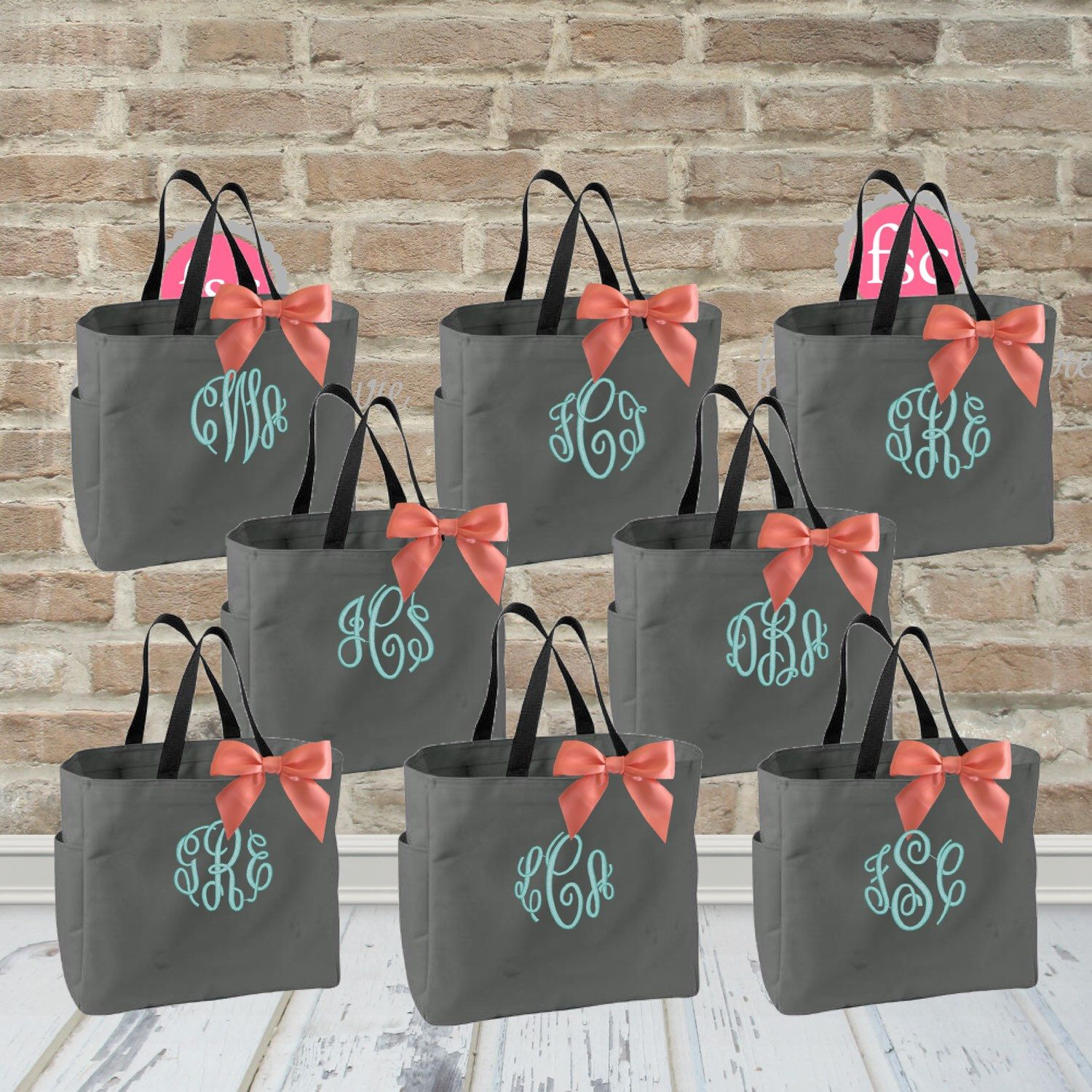 Only 9 00 Each Set Of 8 Bridesmaid Tote Bags Gifts Bag