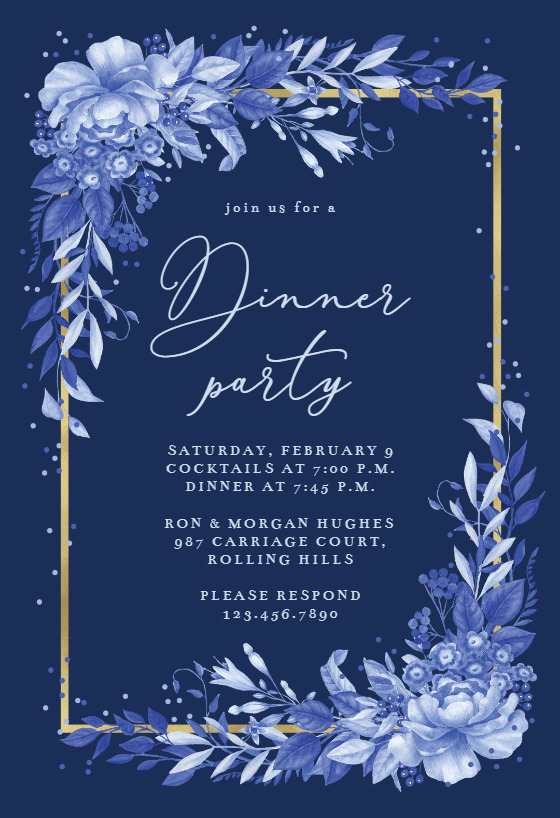 Surreal Indigo Bouquet Dinner Party Invitation Template Greetings Island Engagement Party Invitations Bridal Shower Invitations Templates Dinner Party Invitations