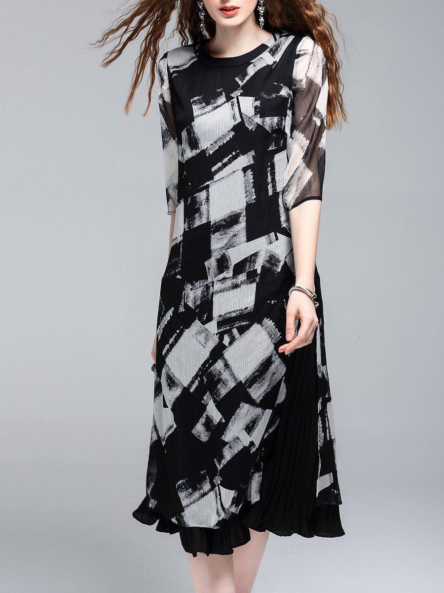 #AdoreWe #StyleWe Midi Dresses - Designer KK2 Black Flounce Geometric Printed 3/4 Sleeve Midi Dress - AdoreWe.com