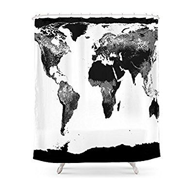 Amazon society6 world map black white shower curtain 71 by amazon society6 world map black white shower curtain 71 by 74 gumiabroncs Images