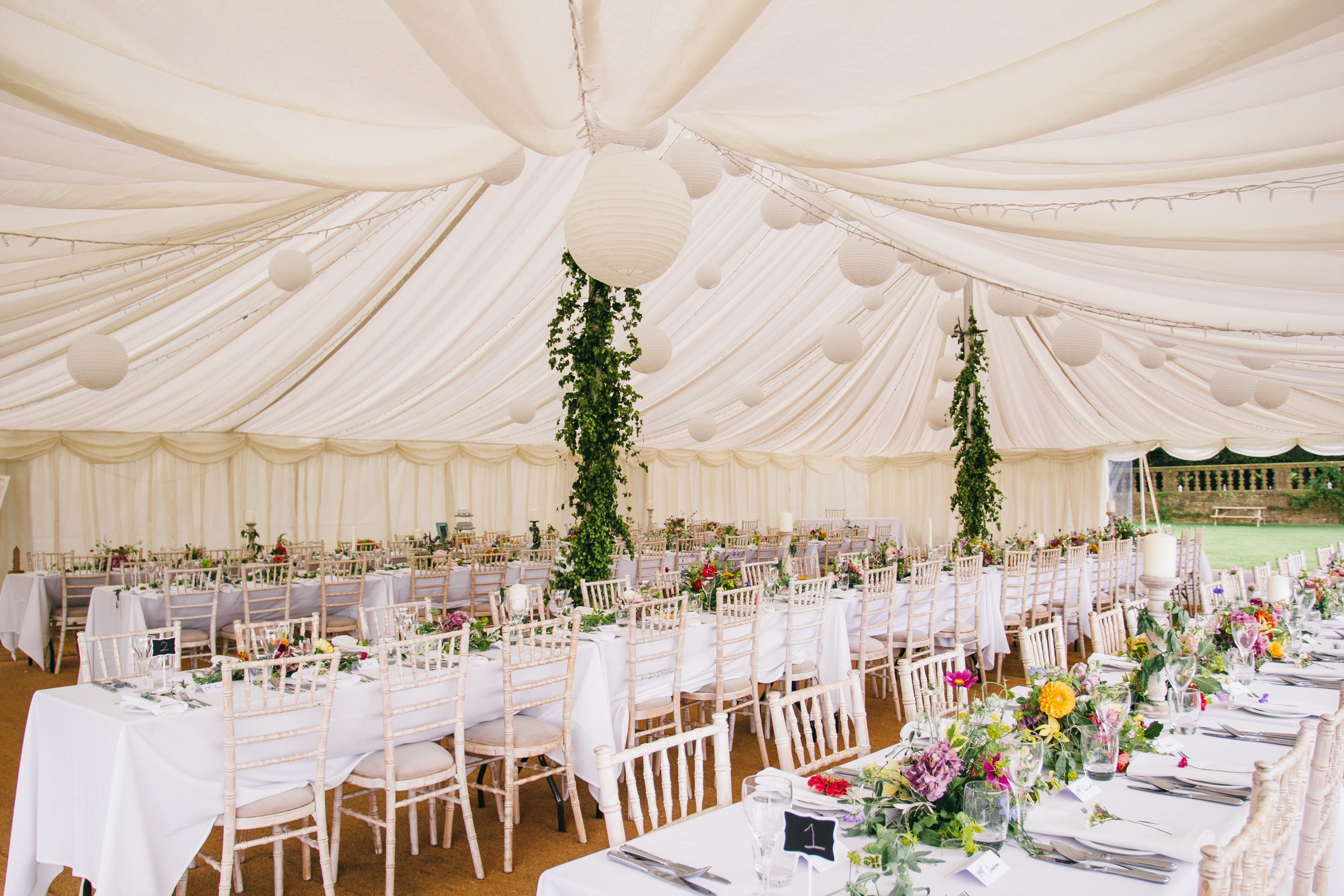 Stunning Marquee Wedding With Chivari Chairs And Long Tables Setting From South West Event Hire Ltd Wedding Chair Hire Marquee Wedding Furniture Hire
