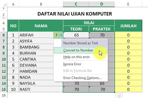 Convert Number Stored As Text Di Excel Di 2020 Belajar Teori Nama
