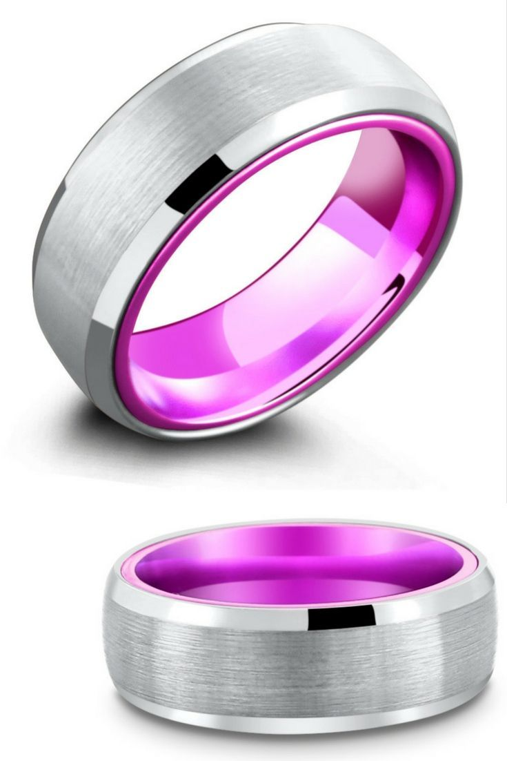 He would love this unique tungsten wedding ring with a purple ...