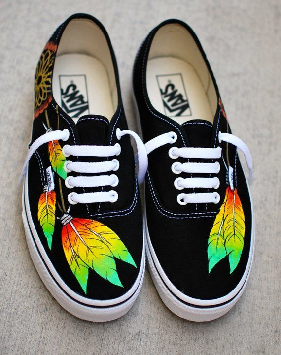 e59b59f82f8693 Rasta Dream Catcher Vans - Custom Hand Painted Black Vans Authentic Shoes