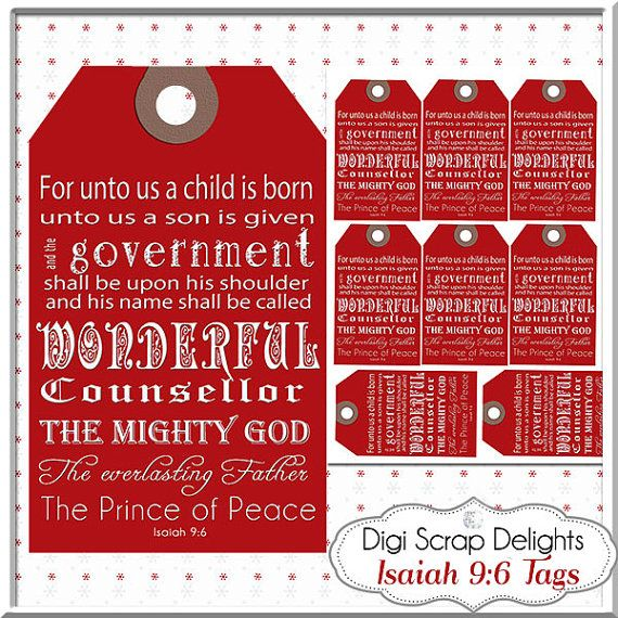 Red christmas gift tags bible verse isaiah 96 printable red christmas gift tags bible verse isaiah 96 printable jesus is negle Choice Image