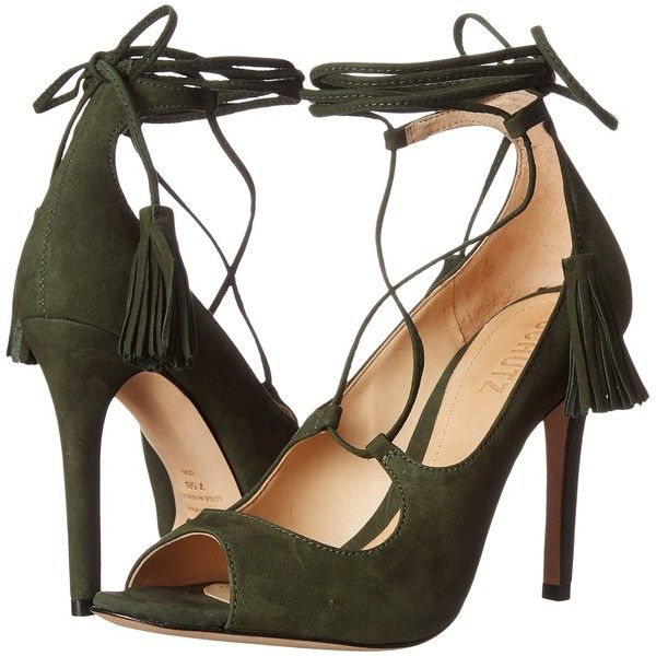 Schutz Yassu (Militar Green) Women's Shoes (325 BRL) ❤ liked on Polyvore featuring shoes, sandals, green, high heel shoes, peep toe shoes, tie shoes, leather upper shoes and green peep toe shoes