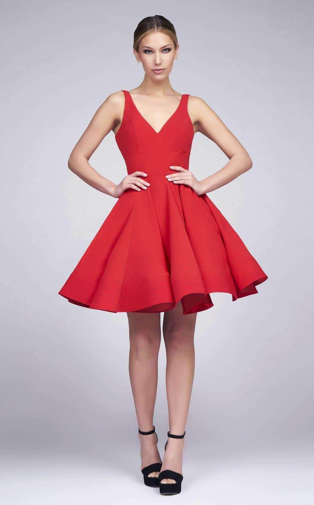 ff8c13b89cd Mac Duggal 48478I Red V Neck Dress