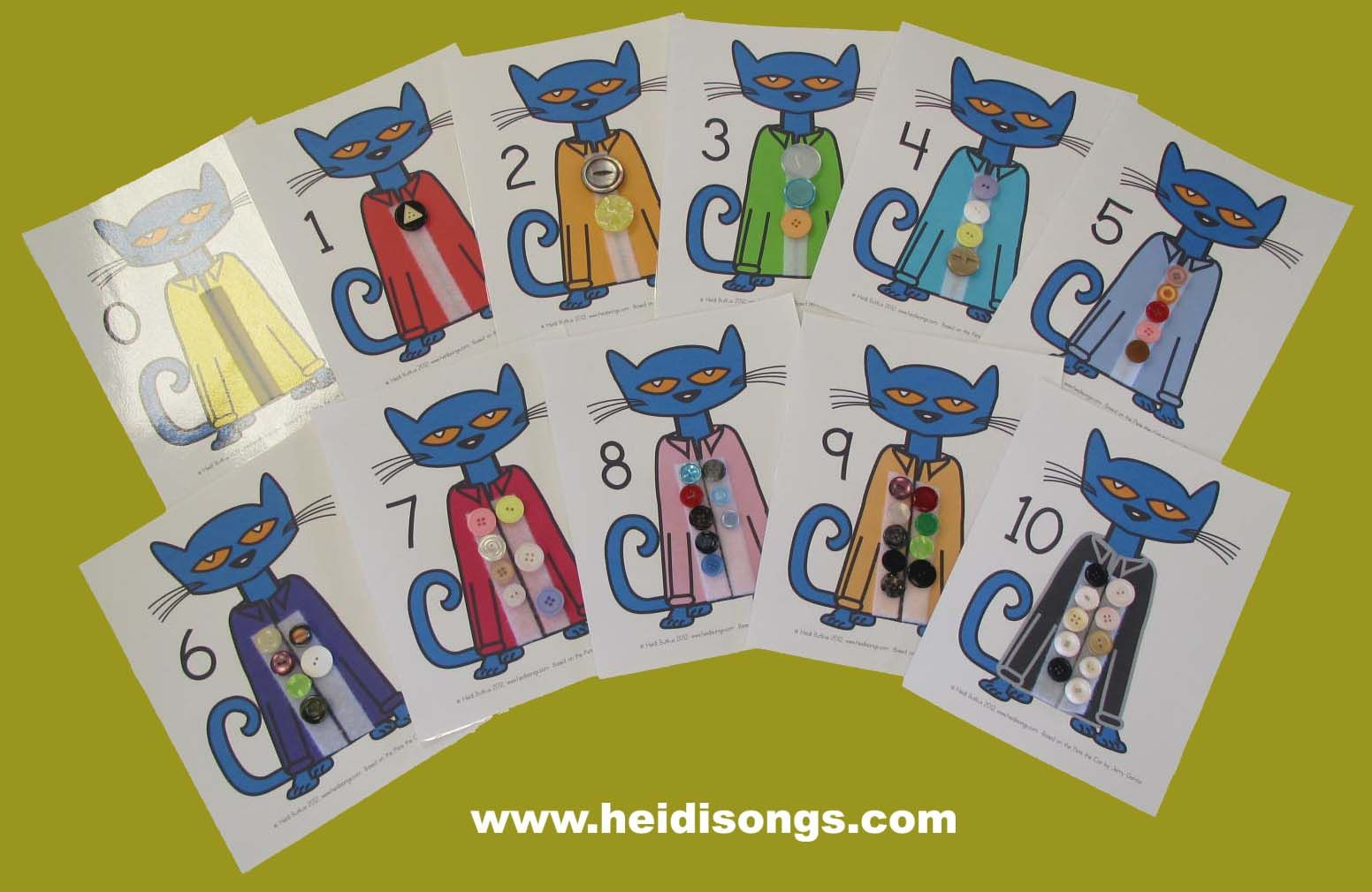 Pete The Cat Button Counting Printable From Heidisongs