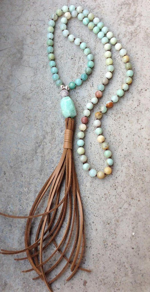 Photo of Chunky Amazonite And Leather Tassel Necklace