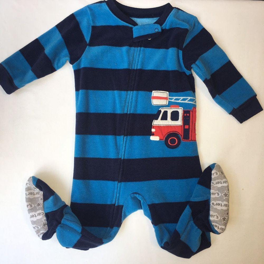 7a07871a5 Boys Carters Fleece Footed Pajamas Blanket Sleeper Size 12 Mo Blue ...