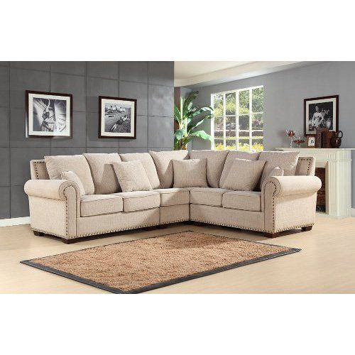 Best Abbyson Living Bromley Fabric Sectional Sandstone 400 x 300