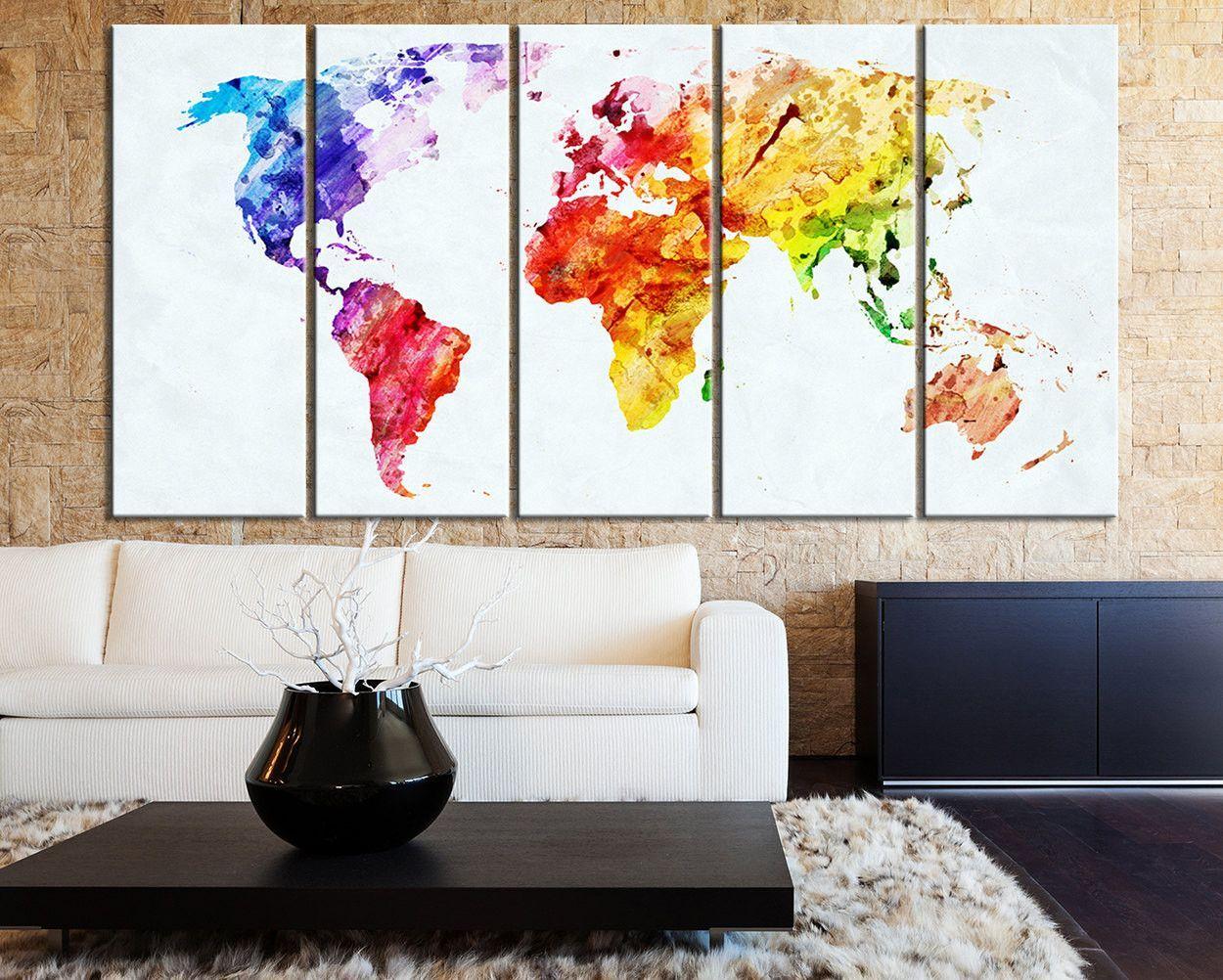 Bright Coloured World Map Canvas Print Art Watercolor World Map 5 Piece Canvas Art Print Ready Map Canvas Print Large Canvas Wall Art 5 Piece Canvas Art