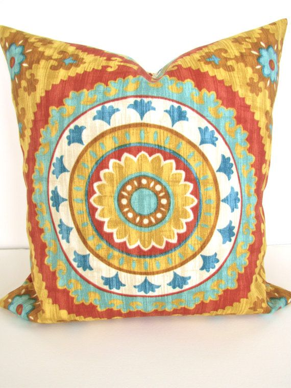 Marvelous PILLOW Cover Gold Turquoise Teal Decorative Throw Pillows 20 X 20 Orange  Red Yellow Indoor Outdoor Throw Pillow Covers Medallion