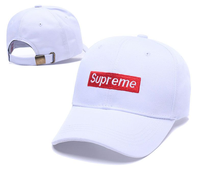 Men's / Women's Supreme Box Logo Patch Embroidery Curved Dad Hat - White / Red