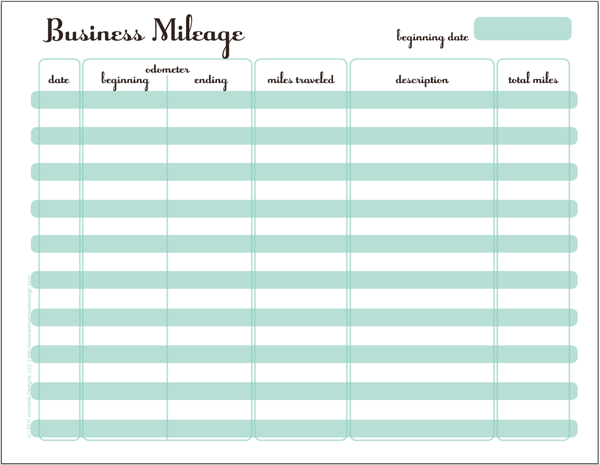 tracking miles business printables pinterest business