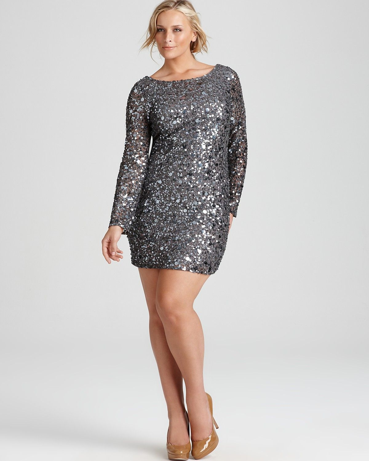 Aidan Mattox Plus Long-Sleeve Sequin Dress | Bloomingdale's | The ...