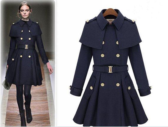 91aeedd33776 autumn winter Pashm Coat Military jacket Wool Jacket Women Coat Navy Blue  Coat