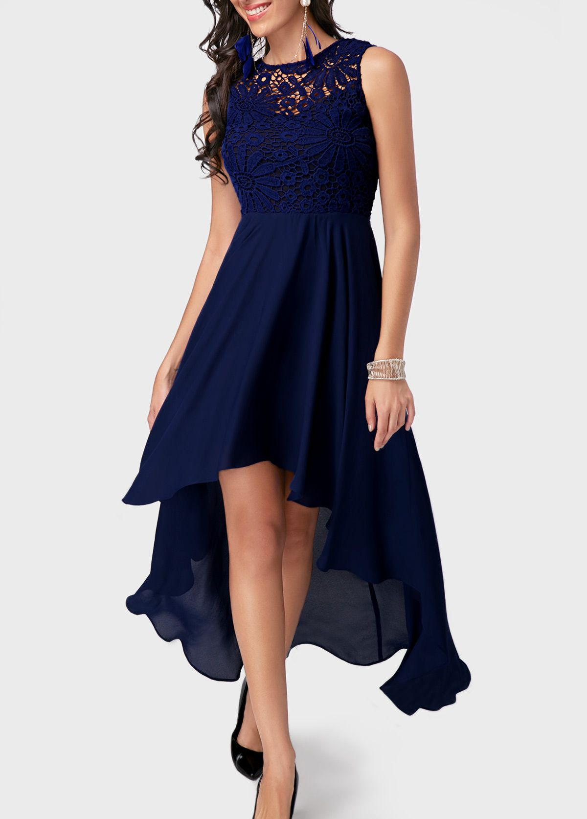 lace panel high low navy blue dress on sale only us3821