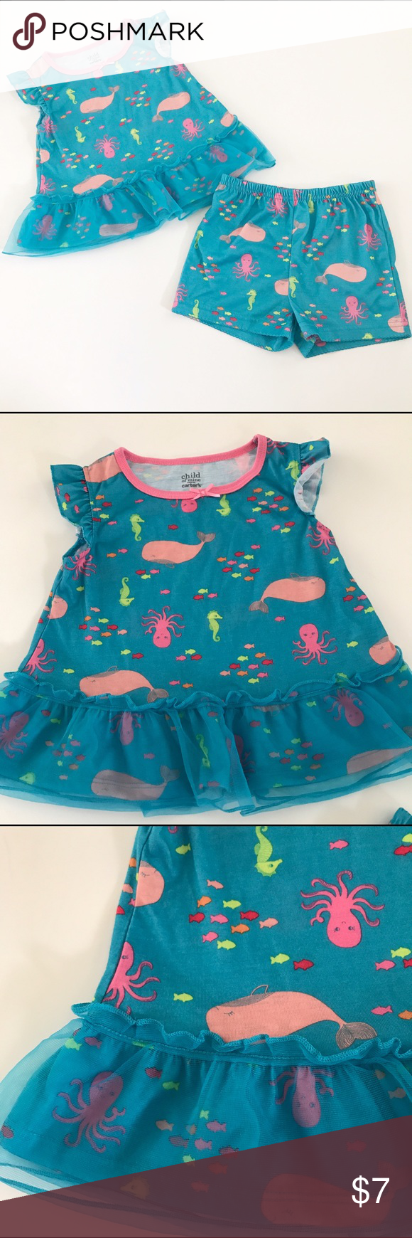 221551e83d7c Child of Mine by Carters blue sea creature pajamas