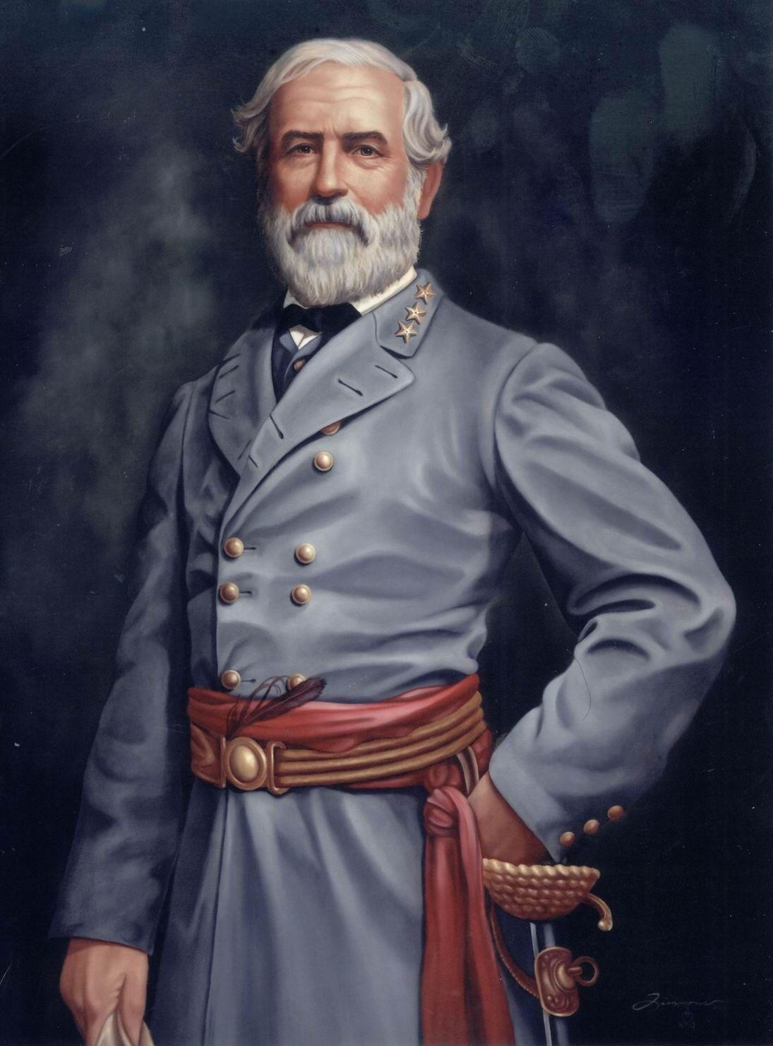 Robert E Lee US Civil War Photo Painting Real Canvas Art Print Confederate Gen