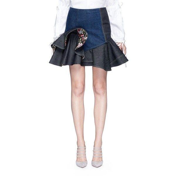 Alexander McQueen Ruffle hem floral reverse denim skirt featuring polyvore women's fashion clothing skirts blue blue denim skirt reversible skirt ruffle hem skirt alexander mcqueen blue floral skirt
