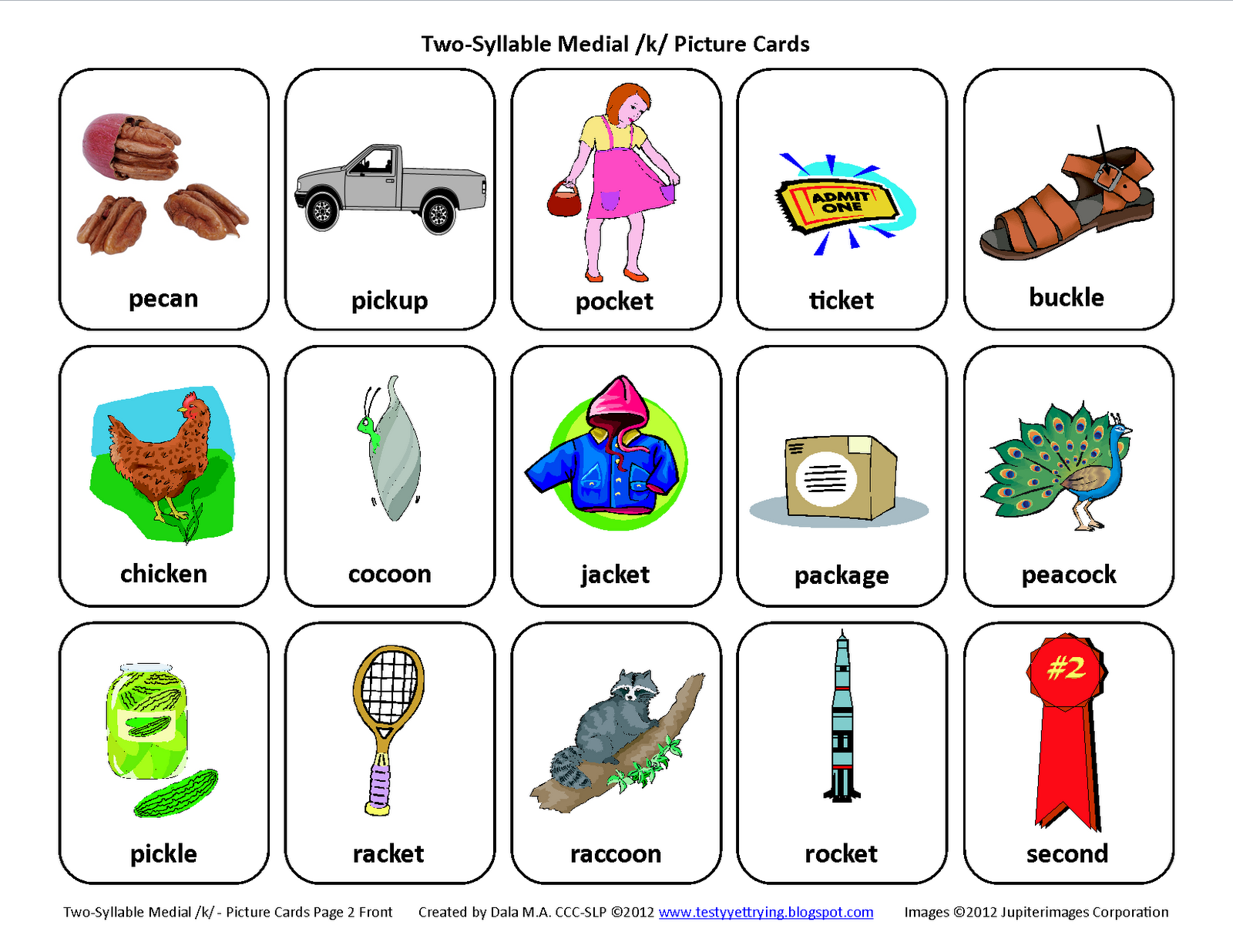 Free Speech Therapy Articulation Picture Cards