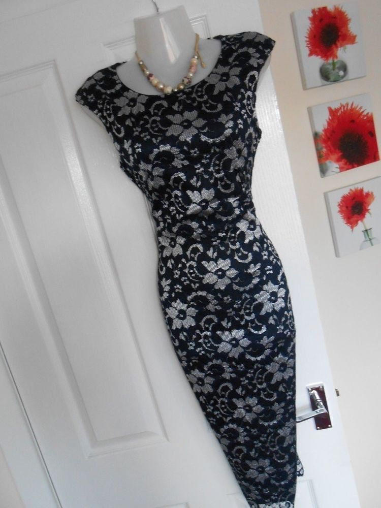 Stunning Jane Norman Size 12 Navy Silver Lace Wiggle Dress Fast Postage Fashion Clothing Shoes Accessories Womensclothing Dresses Wiggle Dress Silver Lace