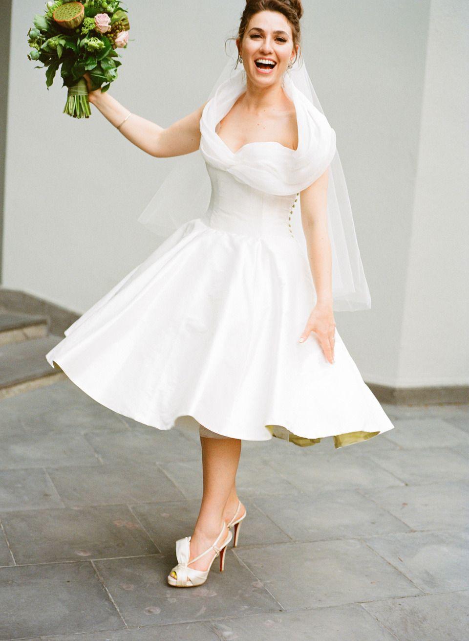 Vintage Flair Wedding In Melbourne Short Wedding Dress Tea Length Wedding Dress Wedding Dresses Cocktail Length [ 1311 x 960 Pixel ]