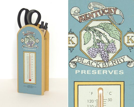 Vintage wooden thermometer. Kentucky BlackBerry Preserves