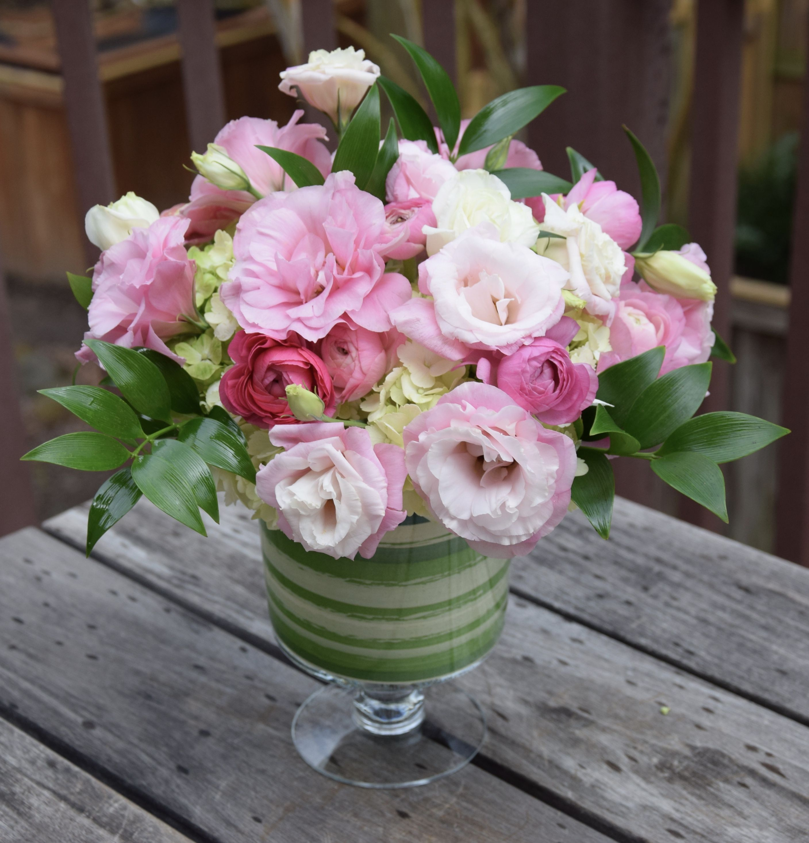 Birthday Flower Bouquet With Pink Lisianthus And Ranunculus And Light Green Hydrangeas Birthday Flowers Bouquet Flower Arrangements Fresh Flowers Arrangements