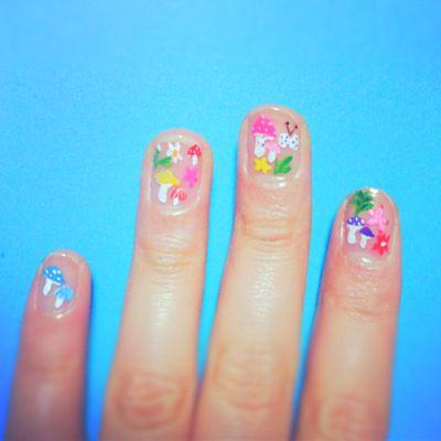 hokuri natural nail art  kawaii nails nail art nails