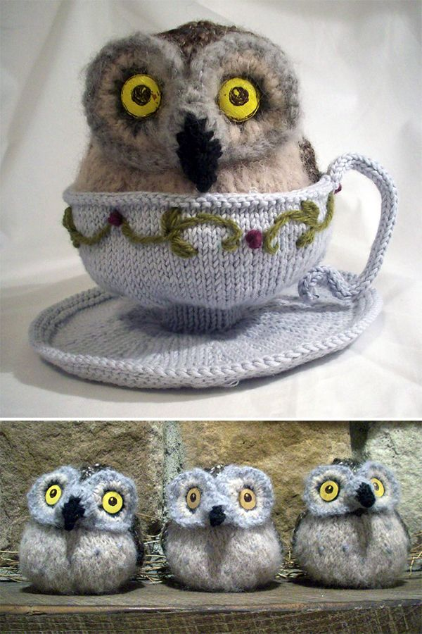 Free Knitting Pattern For Owl In A Teacup Whimsical Owl Softie