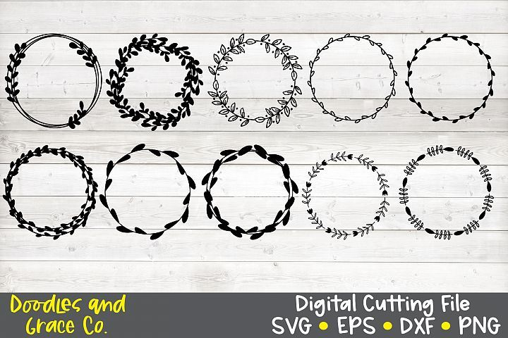 Photo of Hand Drawn Wreath Bundle SVG – DXF – EPS – PNG