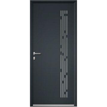 Porte d\u0027entrée aluminium NordFolk ARTENS poussant droit H215 x l90 - pose d une porte d entree