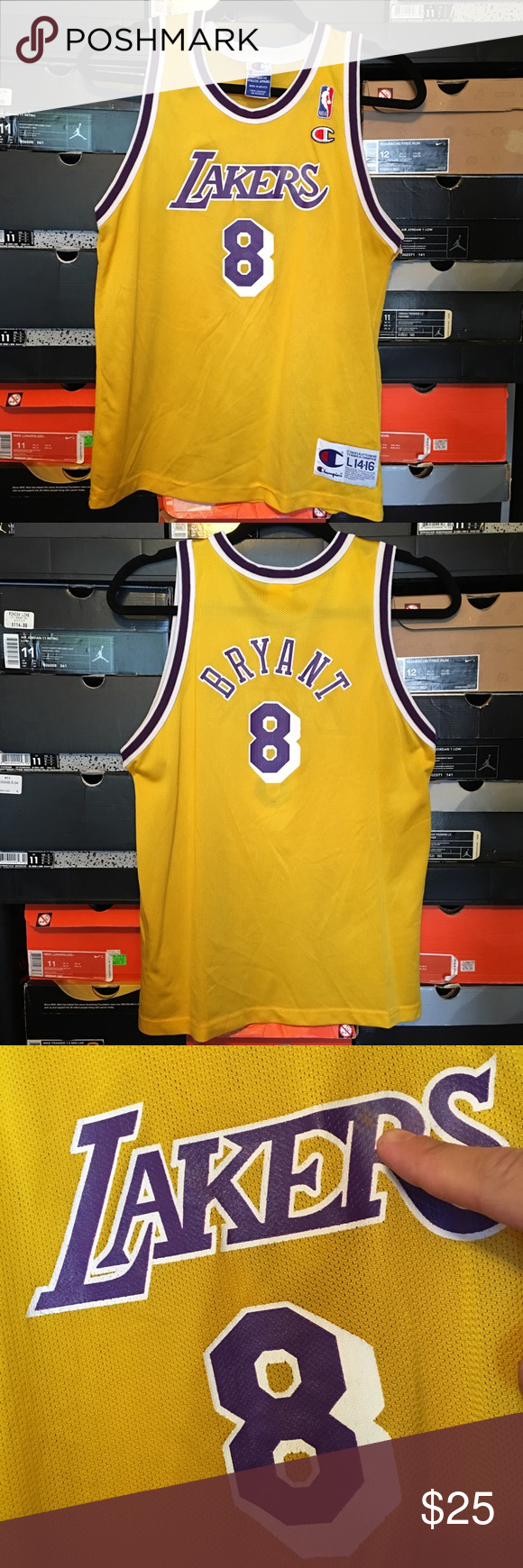 ad94ff39199 Vintage Champion Lakers Kobe Bryant Rookie Jersey Vintage Champion Lakers Kobe  Bryant Rookie Jersey. Kids size Large 14-16. Jersey had some minor signs of  ...