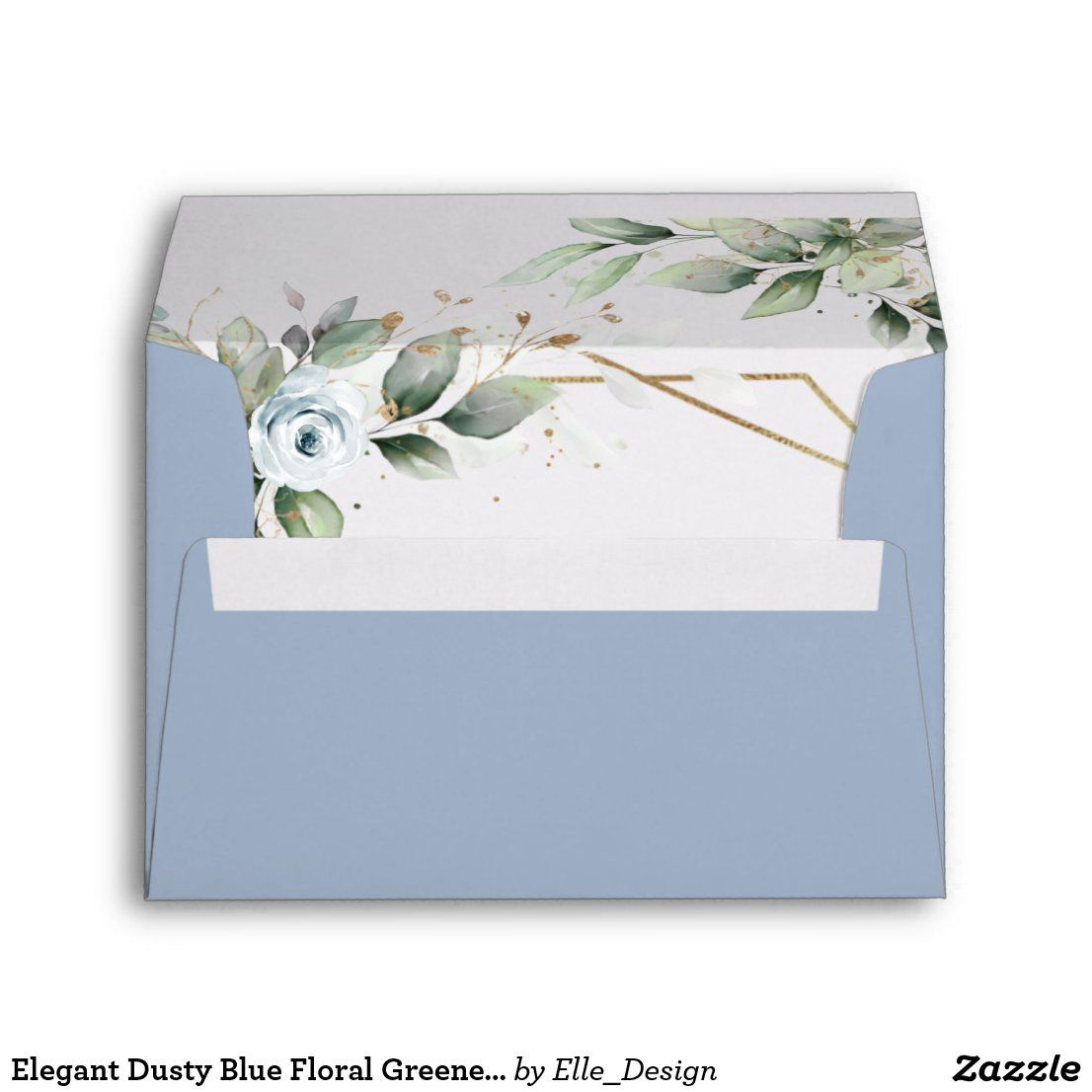 Elegant Dusty Blue Floral Greenery For 5x7 Card Envelope Zazzle Com In 2021 Card Envelopes Wedding Themes Winter Wedding Invitations Stationery