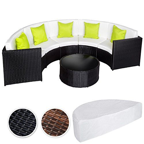 TecTake Luxury Poly Rattan Aluminium Furniture Half Circle Sofa and