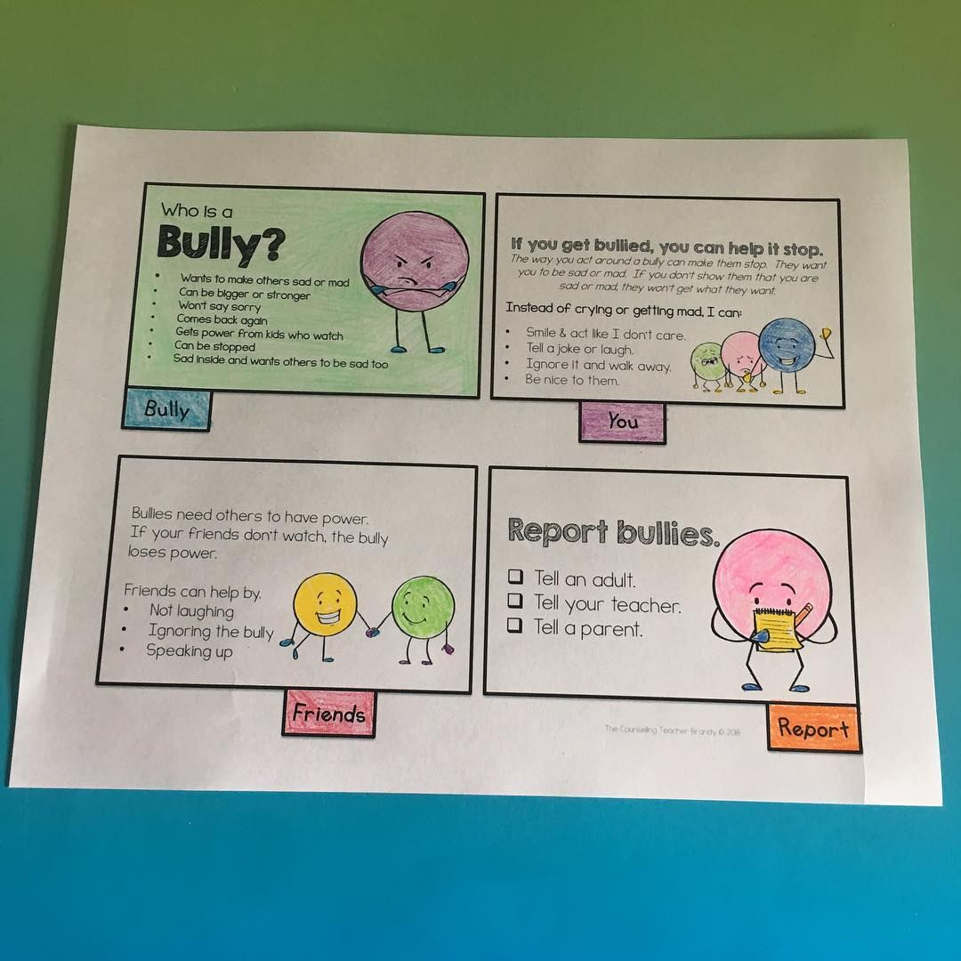 Bully Flipbook One Page By Thecounselingteacher On