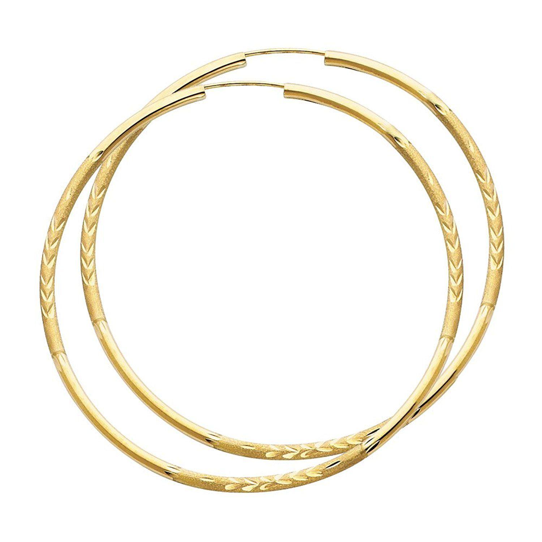 Mia Diamonds 14k White Gold 1.5mm Polished Endless Hoop Earrings
