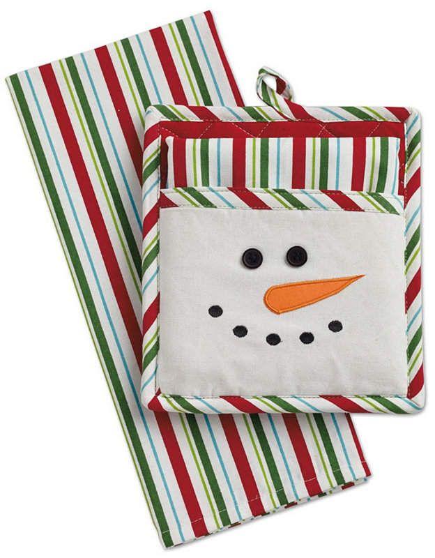 Snowman Potholder Dishtowel Kitchen Set #potholders