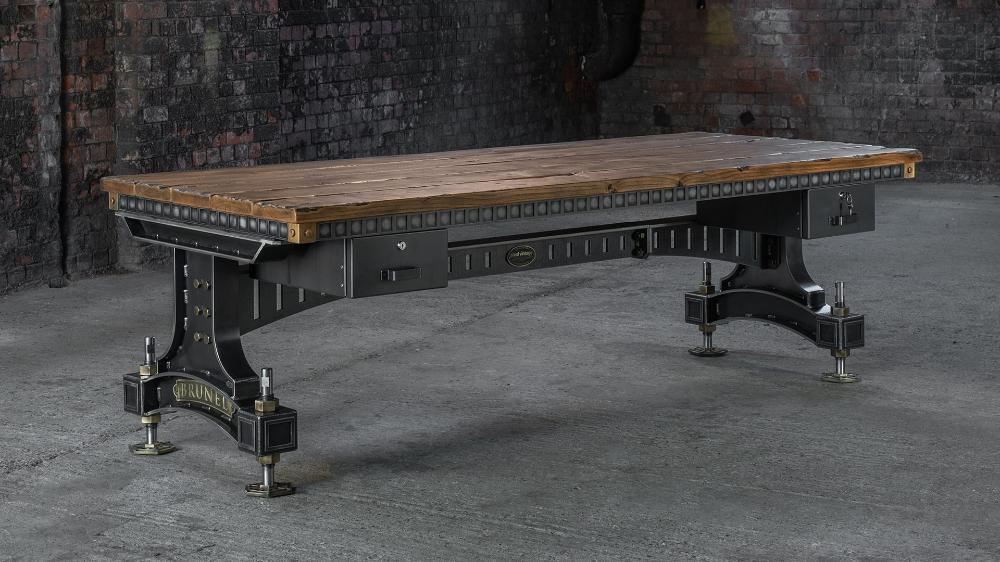 The Brunel Desk Handmade Industrial Desk Uk Steel Vintage In 2020 Industrial Office Desk Industrial Desk Industrial Desk Uk