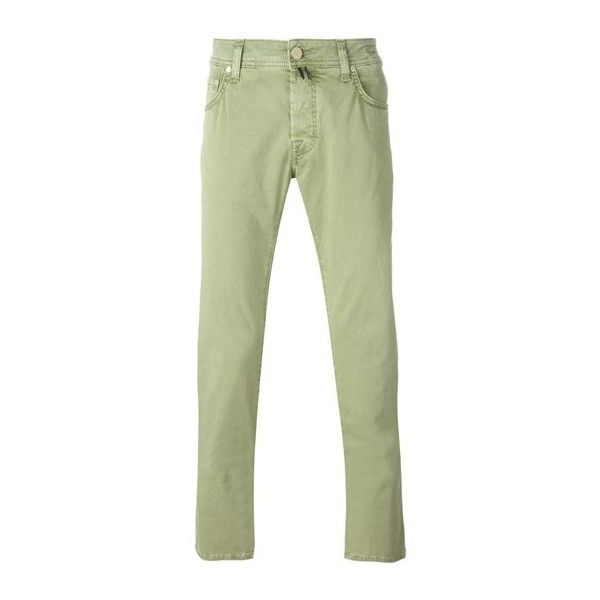 JACOB COHEN Green Cotton Slim Jeans ($174) ❤ liked on Polyvore featuring men's fashion, men's clothing, men's jeans, green, mens cotton jeans and mens green jeans
