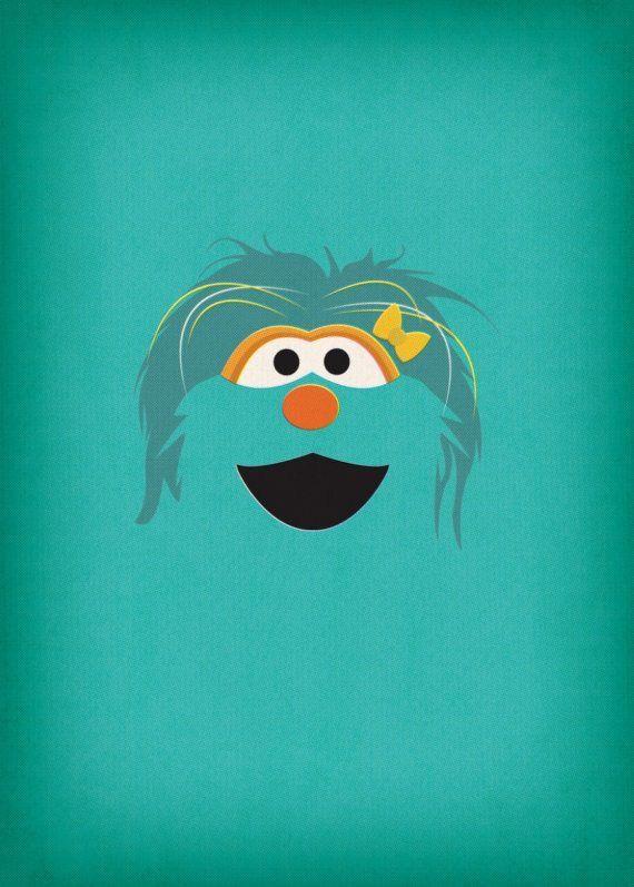 Nursery Decor Geek Art Rosita Sesame Street By TheRetroInc On Etsy