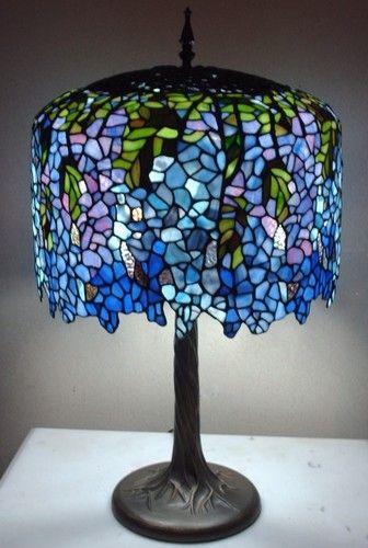 Large Tiffany Style Wisteria Lamp Tree Trunk Base Pink Blue Purple Green Shade Ebay Sise