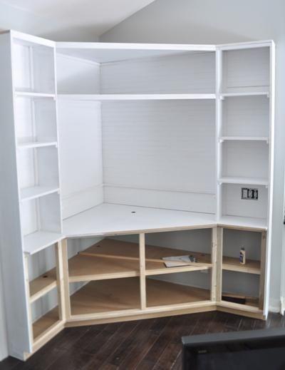 Diy Built In Corner Tv Cabinet Bookshelves Part 10 Shelf
