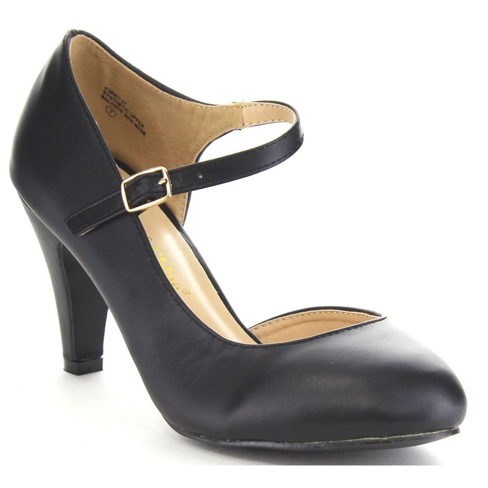 Chase & Chloe Kimmy-37 Women's Basic D'orsay Ankle Strap Mid Heel Pumps