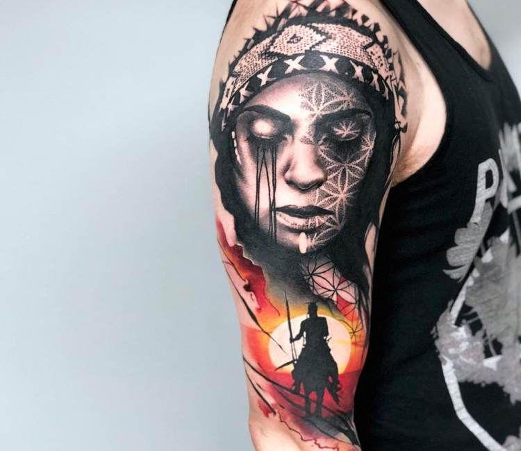 Native American Girl Tattoo By Rich Harris Post 20399 Native American Girl Tattoo Native Tattoos Native American Tattoos