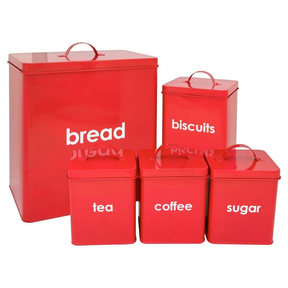 Wilko Kitchen Storage Set Red 5 Piece Sugar Storage