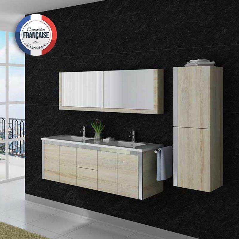 Grand ensemble de salle de bain double vasque avec meuble sous