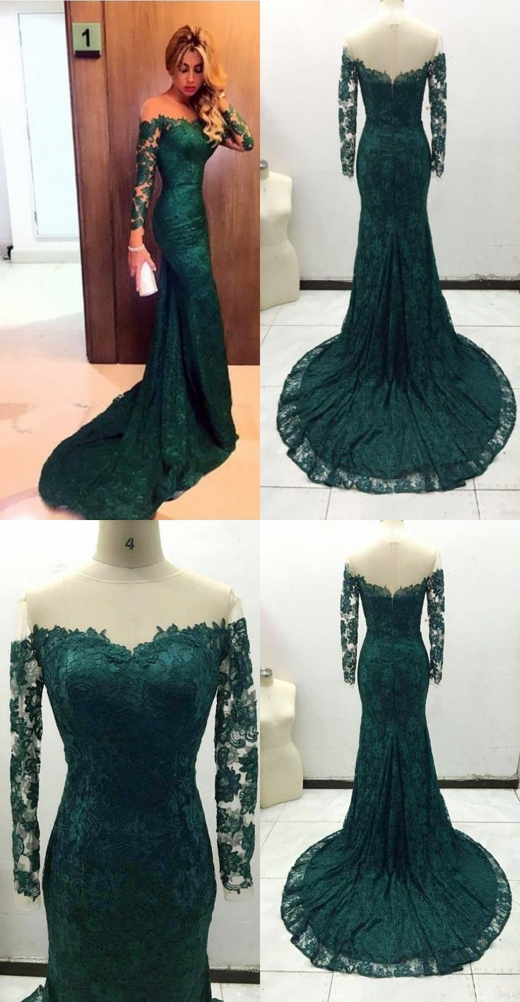 Gorgeous dark green mermaid long sleeves proo mdress with train from